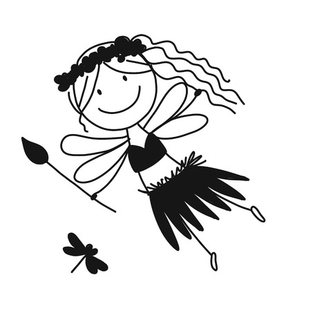 Cute little fairy, sketch for your design 일러스트