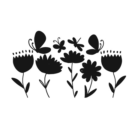 Flowers and butterflies, black silhouette for your design