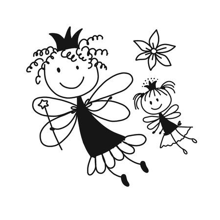 Cute little fairies, sketch for your design Illustration