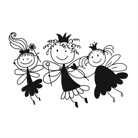Cute little fairies, sketch for your design Archivio Fotografico - 99947485