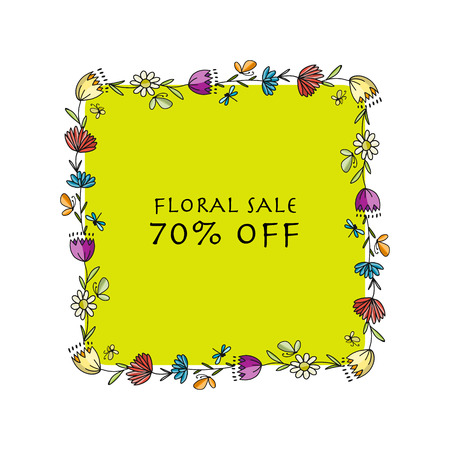 Sale banner with floral border and green space for text. Vector illustration.