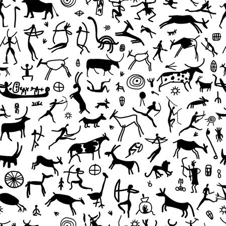 Pinturas rupestres con personas étnicas, patrones sin fisuras Ilustración de vector