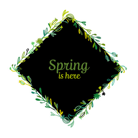 Spring is here poster with a floral frame design
