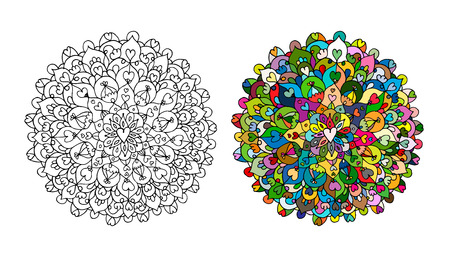 Mandala ornament, hand made sketch for your design Stock Photo