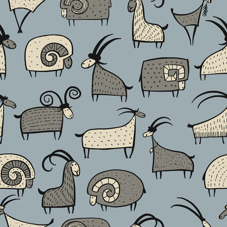 Goats and rams, seamless pattern for your design