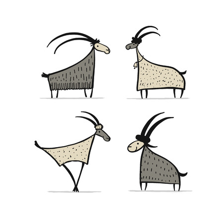 Goats and rams collection for your design