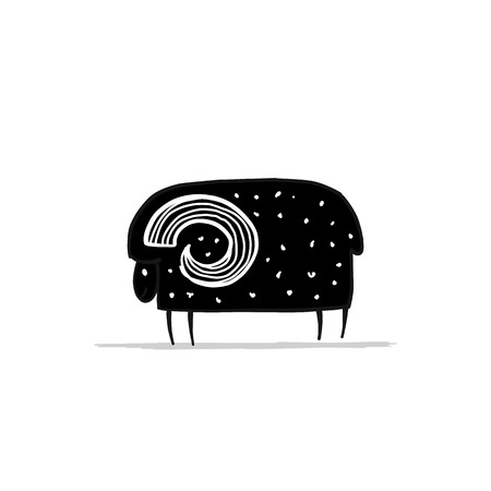 Cute cartoon ram, simple sketch for your design.