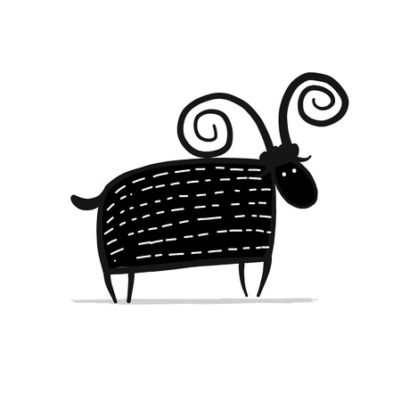 Funny cartoon goat, simple sketch for your design. 版權商用圖片 - 100358201
