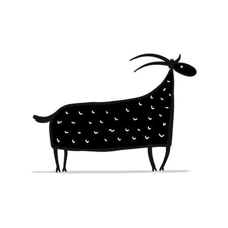 Funny cartoon goat, simple sketch for your design.