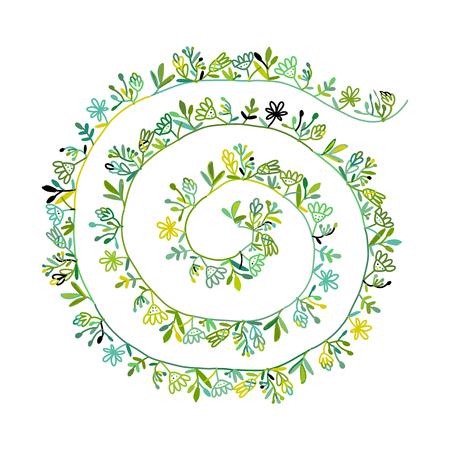 Floral spiral background, sketch for your design