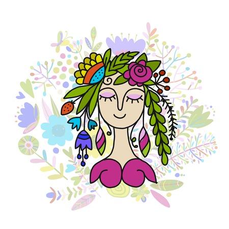 Summer girl sketch Vector illustration Çizim