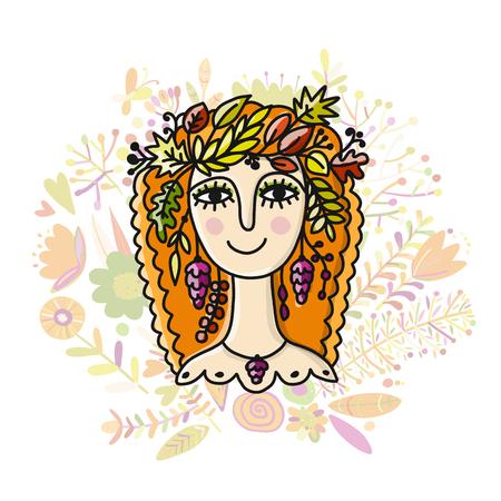 Autumn girl sketch Vector illustration