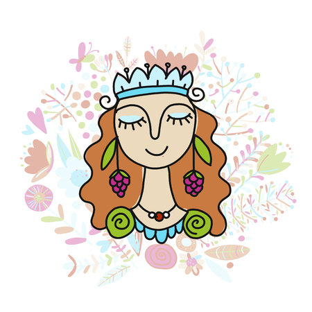 Summer girl, sketch for your design vector illustration. Çizim