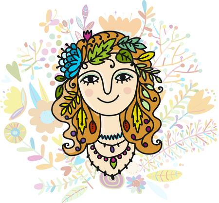 Autumn girl, sketch for your design vector illustration.