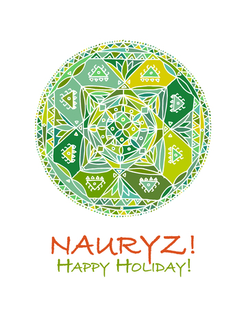 Nowruz holiday colorful geometric greeting card for your design.