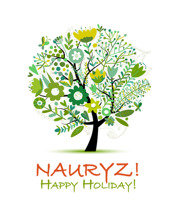 Nowruz holiday with tree greeting card for your design.