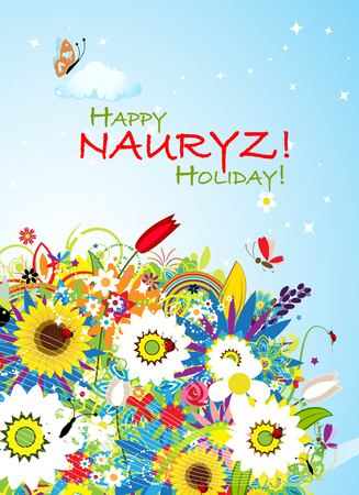 Nowruz holiday floral greeting card for your design.