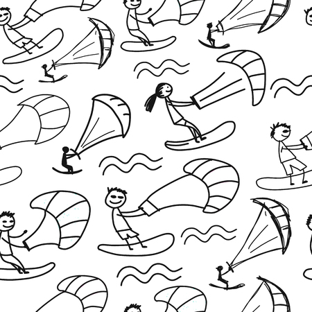 Kiteboarding, seamless pattern for your design