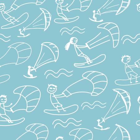 Kiteboarding, seamless pattern for your design
