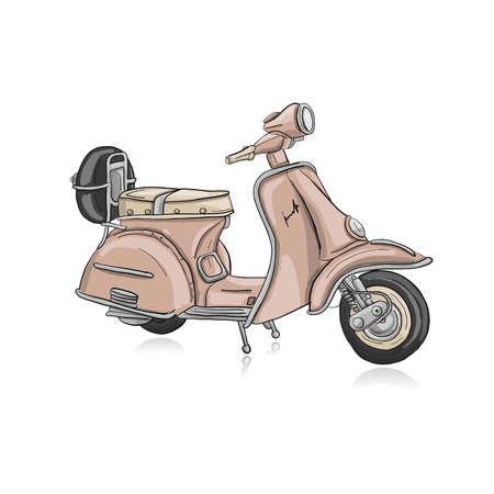 Vintage scooter, sketch for your design