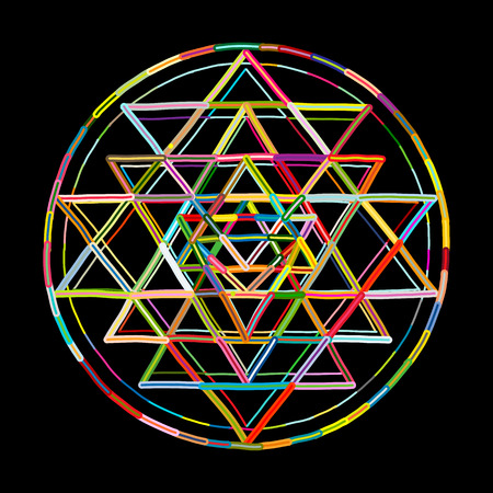 Sacred geometry and alchemy symbol Sri Yantra. Hand drawn sketch for your design Stock Vector - 101028296