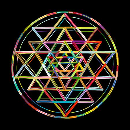 Sacred geometry and alchemy symbol Sri Yantra. Hand drawn sketch for your design Reklamní fotografie - 101028296
