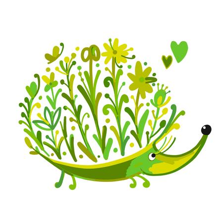 Floral hedgehog, logo set for your design. Vector illustration Illustration