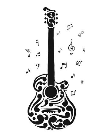 Art guitar, sketch for your design. Vector illustration