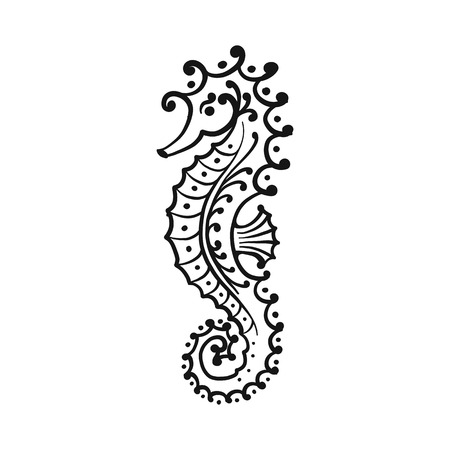 Seahorse silhouette, sketch for your design Illustration