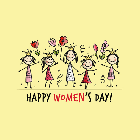 8 march, international womens day. Pretty girls with flowers for your design. Vector illustration