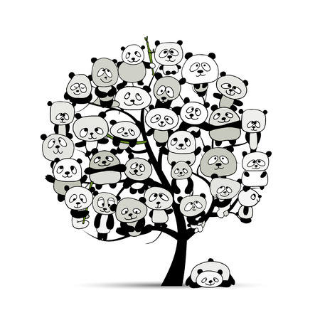 Tree with funny pandas, sketch for your design Stock Illustratie