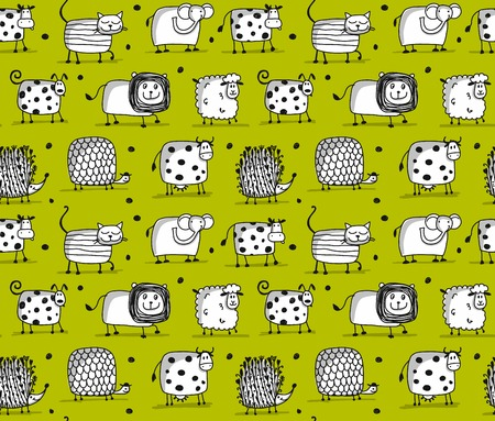 Funny animals, seamless pattern for your design