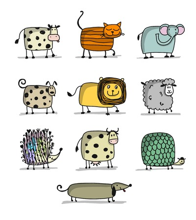 Funny animals, set for your design Illustration