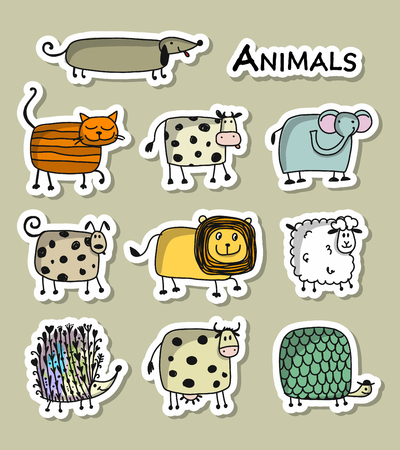 Funny animals, sticker set for your design Ilustração