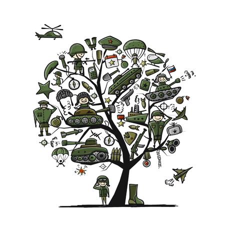 Military tree, sketch for your design. Gift card for men. Vector illustration Illustration