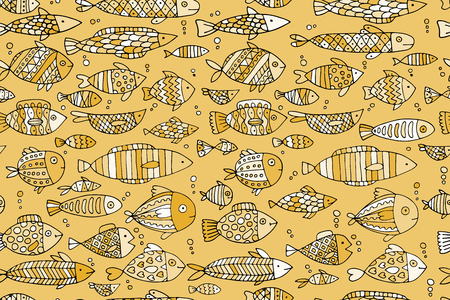 Golden fish seamless pattern, sketch for your design Stock Vector - 101953562