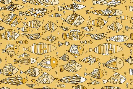 Golden fish seamless pattern, sketch for your design Illustration