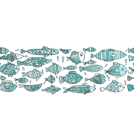 Art fish collection, sketch for your design 向量圖像