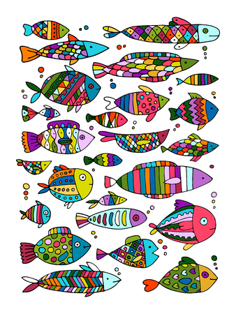 Art fish collection, sketch for your design Illustration