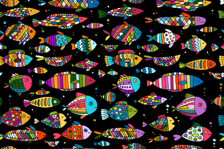 Art fish collection, sketch for your design Ilustracja