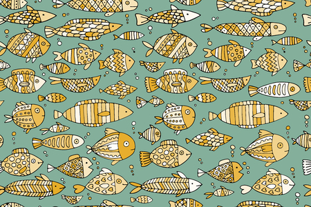 Art fish collection, sketch for your design 일러스트