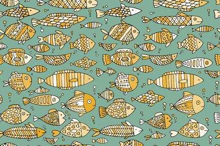 Collection de poissons d'art, esquisse pour votre conception