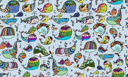 Whales collection, seamless pattern for your design Stock Illustratie