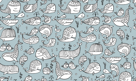Whales collection, seamless pattern for your design Illustration