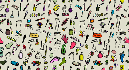 Manicure and pedicure, seamless pattern for your design Ilustração