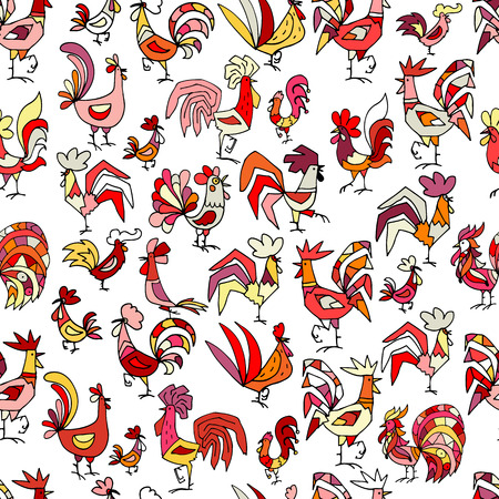 Funny roosters, seamless pattern for your design Illustration