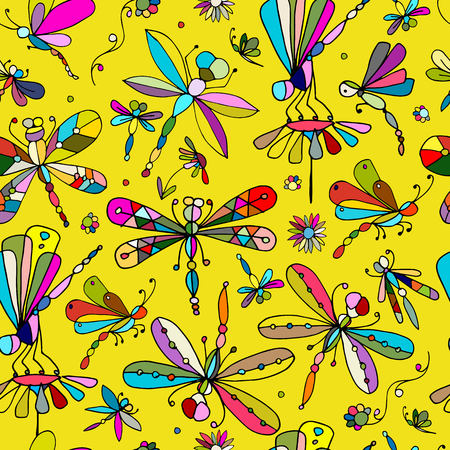Dragonflies, seamless pattern for your design