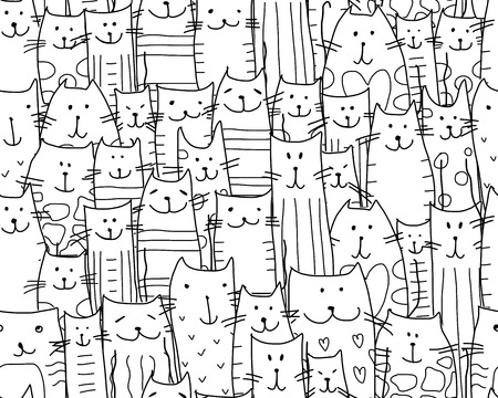 Funny cats family, seamless pattern for your design
