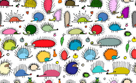 Funny hedgehogs, seamless pattern for your design Banco de Imagens - 101953467