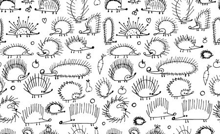 Funny hedgehogs, seamless pattern for your design